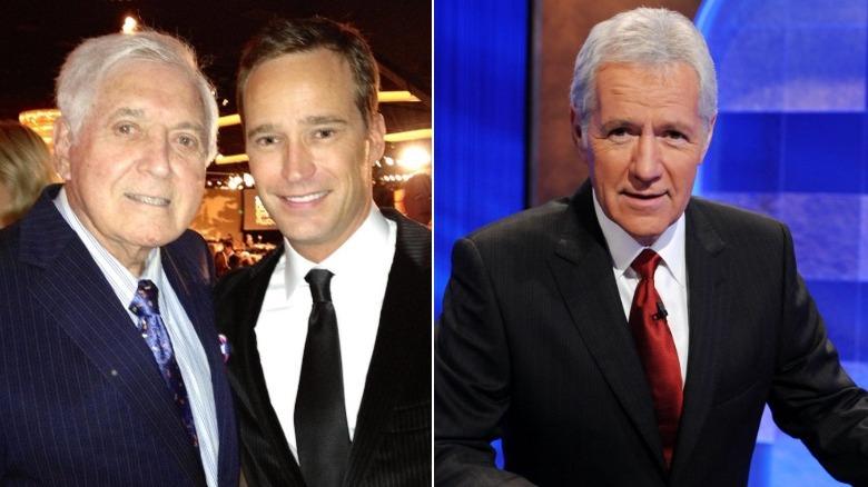 Monty Hall y Mike Richards posando juntos, Alex Trebek en Jeopardy!  colocar