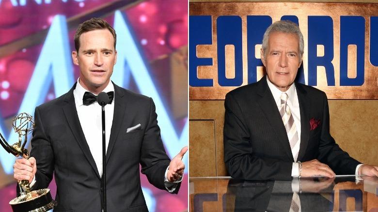 Mike Richards acepta Emmy, Alex Trebek posando en el set