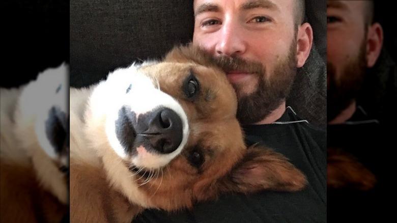 Chris Evans abrazando a su perro Dodger