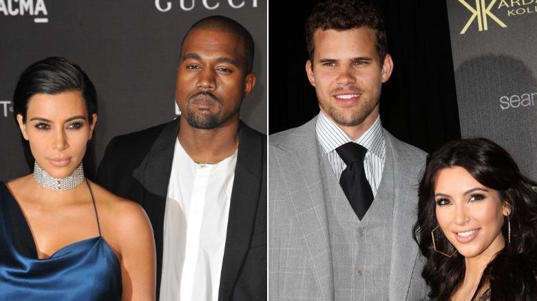 Kim Kardashian de pie con Kanye West y Kris Humphries